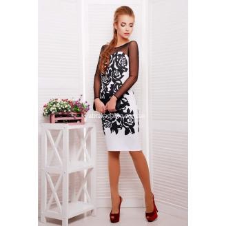Вечернее облегающее платье бюстье в розы Donna