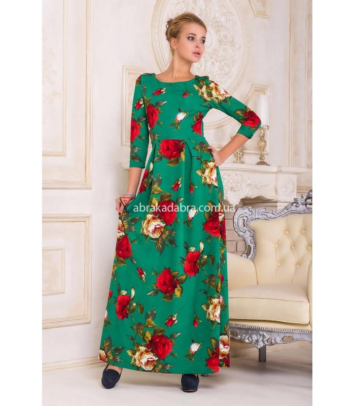 Платье зеленое с цветами и