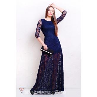 Вечернее платье в пол из гипюра Aria
