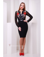 Платье с кожаными вставками Leather