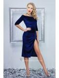 Велюровое платье с разрезом длины миди Anatel