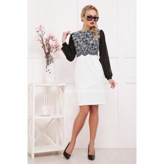 Черно-белое платье с прозрачными рукавами Lerina