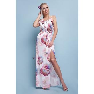 Шелковое платье макси в цветы Ariella