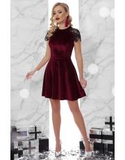Вечернее бархатное платье со вставками пайеток и кружева Diana