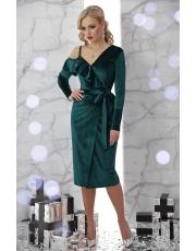 Асимметричное бархатное вечернее платье на запах Valeria