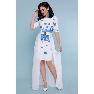 Белое платье с поясом Keitlin