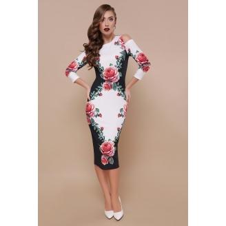 Платье с открытыми плечами в цветы Lila