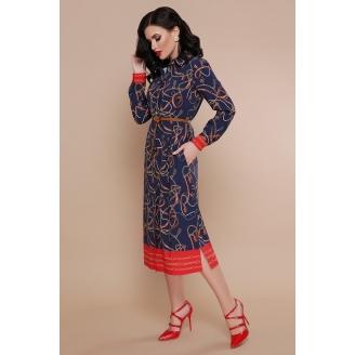 Платье рубашка в цепочки длины миди Zarina