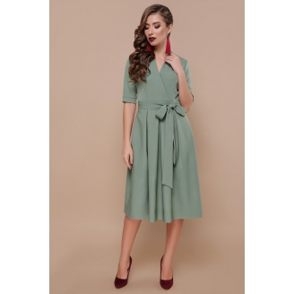 Расклешенное платье миди на запах Angelina
