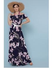 Сарафан в пол с открытыми плечами в цветы Ruzanna