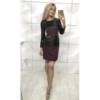 Платье с кожаными вставками Angora