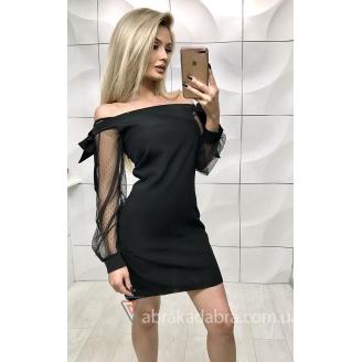 Платье с открытыми плечами с рукавами в сетку Marsel