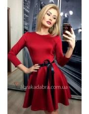 Расклешенное платье с атласным поясом Nonna