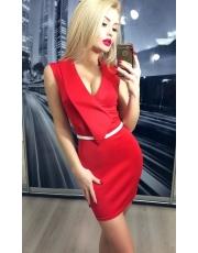 Платье с декором на декольте и поясом Liza