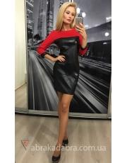 Женское платье с кожаными вставками Leather