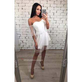 Платье в сетку с открытыми плечами Selina