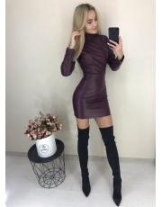Кожаное платье мини Leather