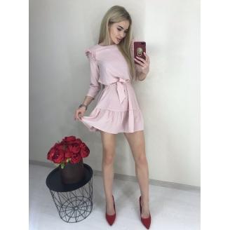 Платье в горошек с воланами Милана