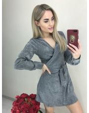 Блестящее трикотажное платье на запах Spark